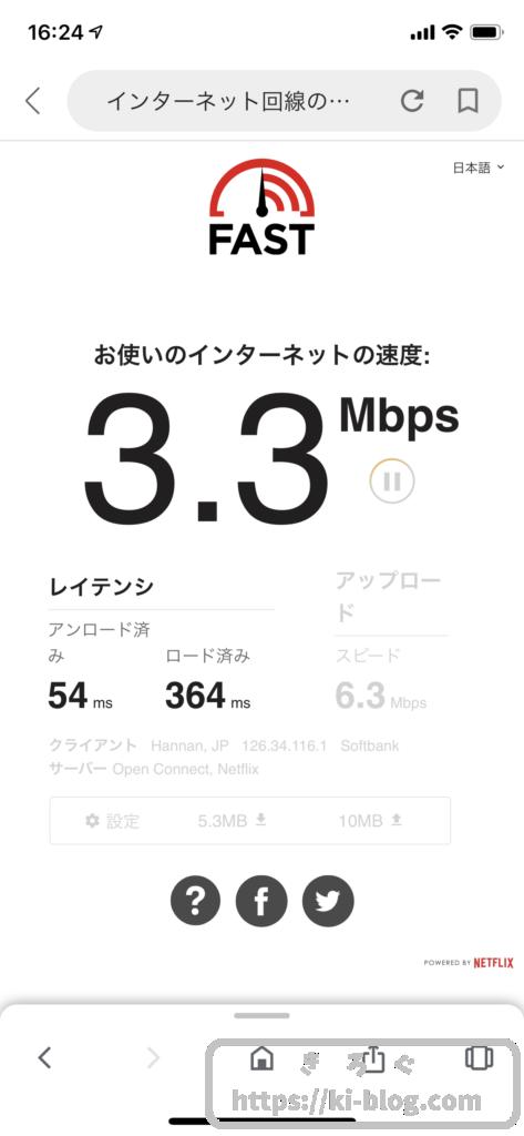 縛りなしWi-Fi回線速度1